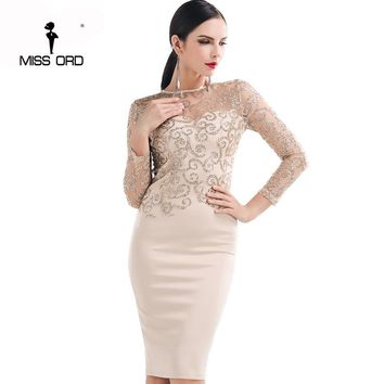 Missord 2017 Flash sexy halter high-necked long-sleeved sequin dress FT4180