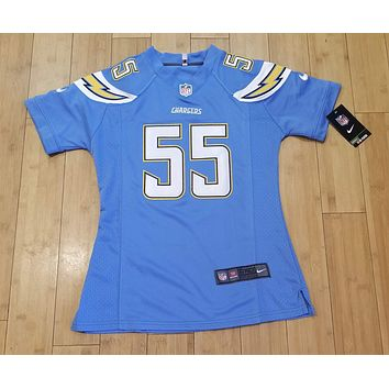 Junior Seau #55 Womens Baby Blue Chargers Jersey