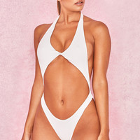 Clothing : Swimwear : 'Cape Verde' White Twist Front One Piece Swimsuit