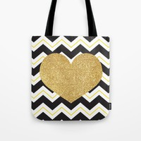 Golden Glittery Heart Tote Bag by Miss L In Art
