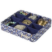 9 Section Jewelry Tray Drawer Organizer (Blue Small Print)