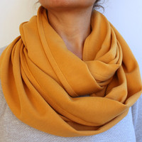FREE SHIPPING Mustard Yellow Infinity Scarf Eternity Scarf Urban Outfit Wide Coton Jersey Scarf Fabric Solid Color Loop Winter Scarf
