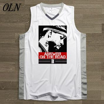 OLN Mens Basketball Jersey Top Uniforms 3 Allen Iverson Printing Sports Sets Breathable Training Shirts White