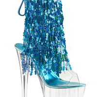 Ankle Stripper Boots With 4 Layers Of Aqua Sequins Fringe