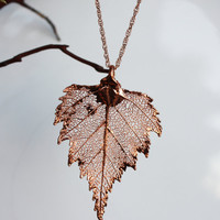 Real leaf Jewelry, Bright Copper / Rose Gold Birch leaf pendant necklace, Bridal, Wedding jewelry, Bridesmaid Gift, Live Love Leaf