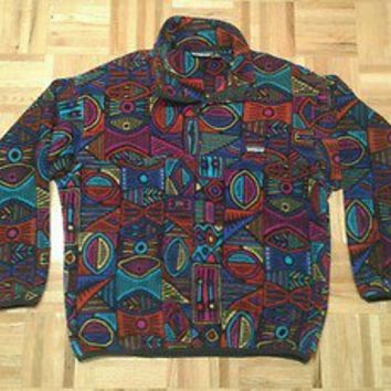 Vintage Patagonia RARE aztec indian pattern pullover fleece t snap USA L