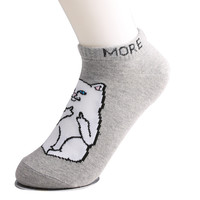 1 Pair Autumn Winter Warm Unisex Harajuku Style Print Cotton Casual Charactor Low Cut Ankle Socks White/Black/Gray