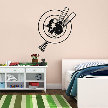Vinyl Decal Sport Emblem Logo Baseball Helmet And Crossed Home Wall Decor Stylish Sticker Mural Design Children Kids Room V632
