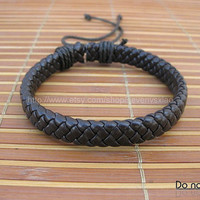 Adjustable Black  leather Cotton Rope Woven Bracelets mens bracelet cool bracelet jewelry bracelet bangle bracelet  cuff bracelet 1114S