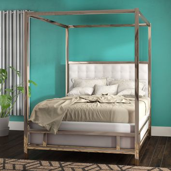 Alek Upholstered Canopy Panel Bed