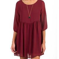 3/4 Sleeve Babydoll Dress - Burgundy - Burgundy /
