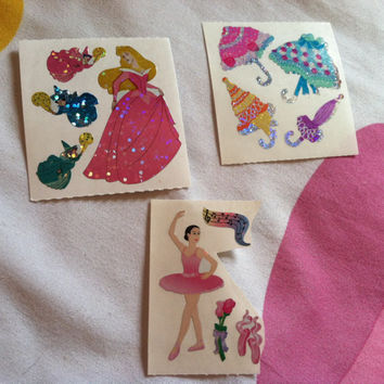 Lot of 3 Sandylion Stickers Disney Princess Slippers Ballet Ballerina Umbrella Glitter Flowers