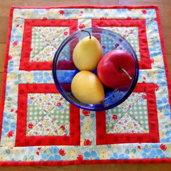 Quilted Table Runner Topper Retro Kitchen Red Blue Yellow Green