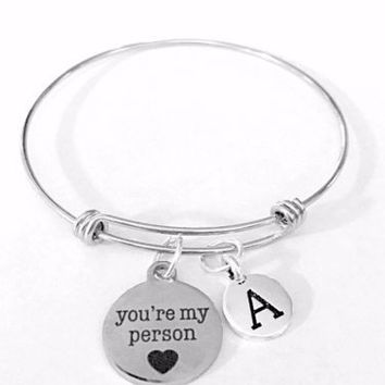 You're My Person Initial Best Friend Sis Gift Adjustable Bangle Charm Bracelet