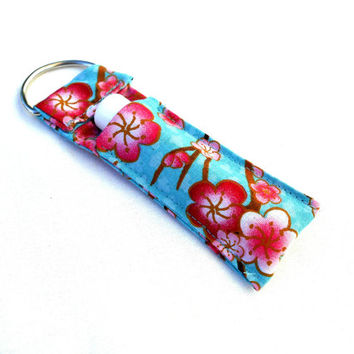 Spring Cherry Blossoms Chapstick Keychain - Cherry Blossoms Pink Blue Spring Lip Balm Holder Cozy