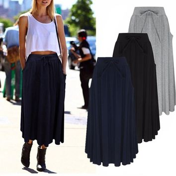 Women Beach Long Maxi Skirts Bottoms Casual Ladies High Waisted Bohemian Pleated Skirt Dresses
