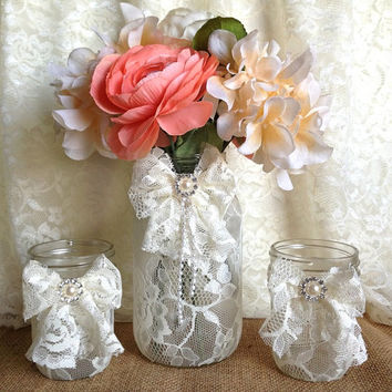 3 ivory lace covered mason jars with lace bows 1 vase and 2 candle holder, wedding decor gift or for you NEW