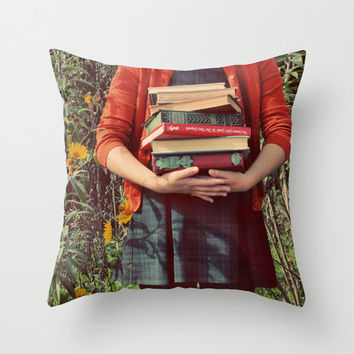 SALE Pillow Cover, Whimsical Photograph, Girl, Books, Fall Decor, Autumn Portrait, Photo Pillow, Farmhouse Style, Whimsical, Living Room