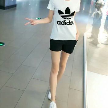 """Adidas"" Fashion Casual Clover Letter Embroidery Short Sleeve Set Two-Piece Sportswear"