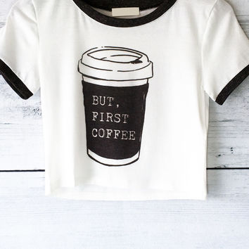 But First Coffee Ringer T-Shirt