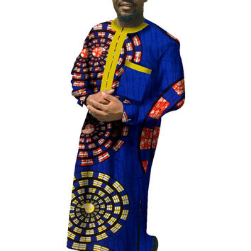 African Print Dashiki for Men Plus Size African Clothing Long Sleeve Robe Dashiki African Traditional Clothing WYN70