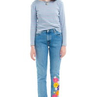 Vintage 90's Flower Patch Mom Jeans - XS/S