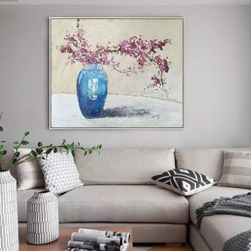 Original Flower painting On Canvas extra Large painting blue Heavy Textured Floral Impasto Wall Pictures oil cuadros abstractos home decor