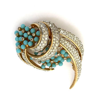 Jomaz Turquoise & Ice Rhinestone Brooch, Layered Floral, Turquoise Glass Beads Pave Ice Crystals, Designer Signed, Vintage Gift for Her