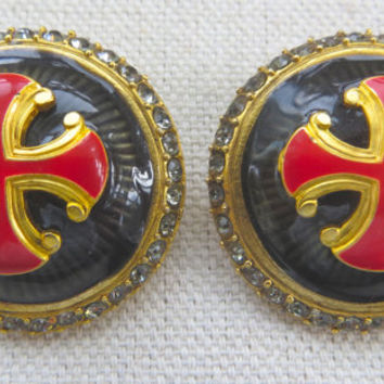 Vintage Jay Strongwater Maltese Cross Clip Earrings Enamel