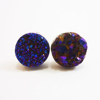 Druzy Cobalt Blue Stud Earrings n51 by AstralEYE on Etsy