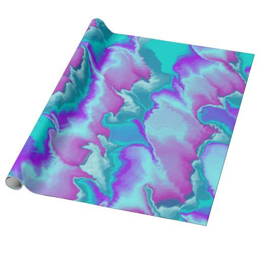 Purple And Teal Waves Wrapping Paper From Zazzle
