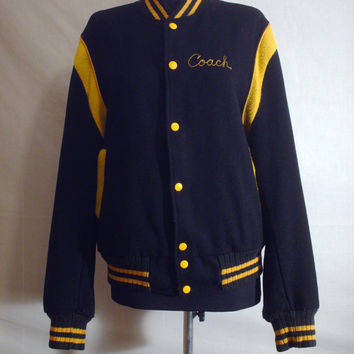 Vintage 1980s Letterman Jacket Black and Gold