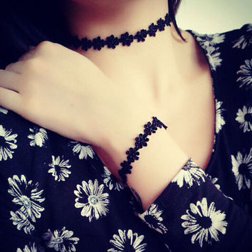 Black Lace Tattoo Choker Necklace -Black Lace Tattoo Bracelet + Gift Box-33