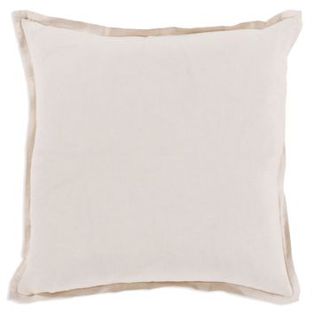 Linen Pillow with Flange - Ivory