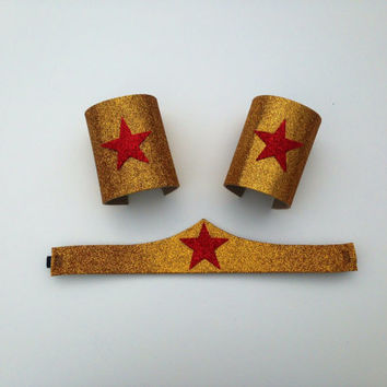 Wonder Woman head band and arm cuffs