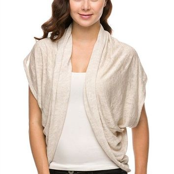 Career Solid Colors Open Front Drape Side Layered Light Knit Shawl Cardigan Top