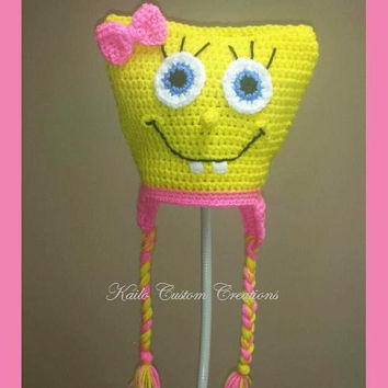 Crochet Miss Sponge hat with earflaps and braids, Newborn to Adult sizes