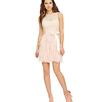 Teeze Me Chevron Lace Ruffle Mesh Party Dress - Natural/Blush