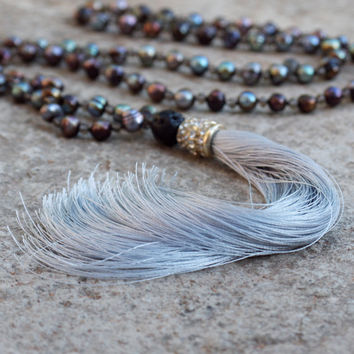 Deluxe boho necklace Fashionable Boho jewelry Bohemian gemstone pearl necklace Hippie statement necklace Grey tassel Neutral long necklace