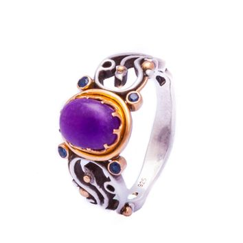 Snake Ring With Rare Sugilite In 22K Gold Collet Size 13
