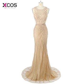 Robe de Soiree Longue 2018 Luxury Gold Full Crystal Mermaid Prom Dresses Tulle Long Formal Party Beading Evening Gown