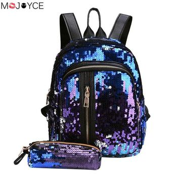 Student Backpack Children 2pcs Glitter Sequins Backpack New Fashion Bling Rucksack Students Cute Pendant School Bag Teenage Girls Mochilas AT_49_3