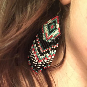 Fringe Beaded Earrings - Native, Ethnic, Tribal Design - Handsewn - Turquoise, black, red, white seed beads