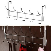 12 Hooks Stainless Steel Storage Hat Dress Hanging Coat Towel Bathroom Door Hanger Hooks