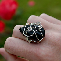 Black Onyx Druzy & sterling silver wire ring