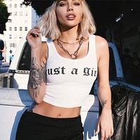 Women Fashion Bodycon Knit Letter Sleeveless Vest Crop Tops