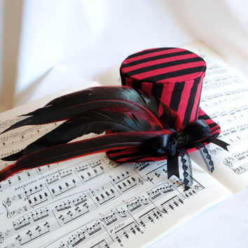 Gothic Mini Top Hat - Black and Red Stripes - Ready to Ship