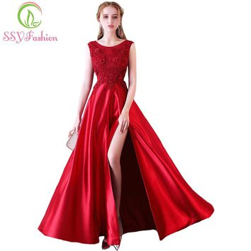 New The Bride Banquet Elegant Evening Dress Wine Red Satin High-split Lace Flower Floor-length Prom Party Formal Gown