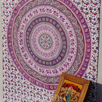 Pink Elephant Mandala Tapestries Mandala Tapestry Hippie Wall Hanging,Hippie Tapestry,Bohemian Tapestry,Indian Boho Cotton Bedspread