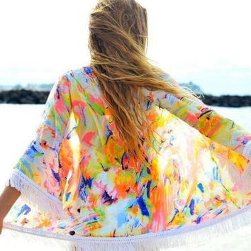 Colorful Tassel Chiffon Beach Cover Up